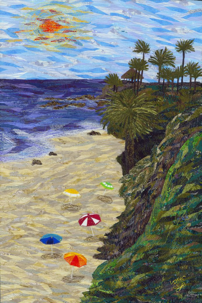 North Main Beach, Laguna Beach - Fiber art by Loretta Alvarado